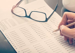 Man filling a standardized test form